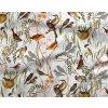 Bavlnený satén vtáky vo vetvičkách