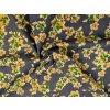 Rifľovina košeľová žlto-zelené kvietky na stredne tmavej modrej