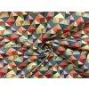 Bavlnené plátno farebné malé trojuholníky