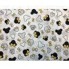 Bavlnené plátno hlavičky na sivej so žltou mašľou