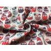 Bavlnené plátno vianočné sovičky červené