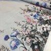 Režná bavlna obojstranná bordúra modré lúčne kvety