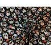 Bavlnený úplet mexické lebky na čiernej