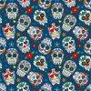 Bavlnený úplet mexické lebky na modrej