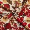 Ľanová tkanina hnedo červené kvety