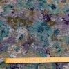 Ľanová tkanina rozpité zeleno-fialové kvety