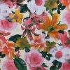 Ľanová tkanina ružovo-oranžové kvety