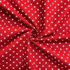 Bavlnené plátno biele bodky na červenej