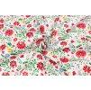 Bavlnené plátno červené folklórne kvety