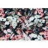 Bio bavlnený úplet staroružové kvety na čiernej