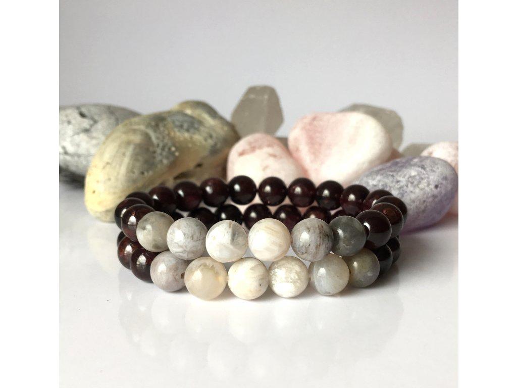 Náramek z minerálů Síla a sebedůvěra - granát, bambusový achát