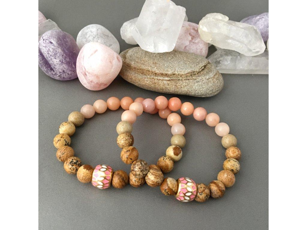 Náramek z minerálů ŠTĚSTÍ - růžový avanturín, obrázkový jaspis, chirurgická ocel gold