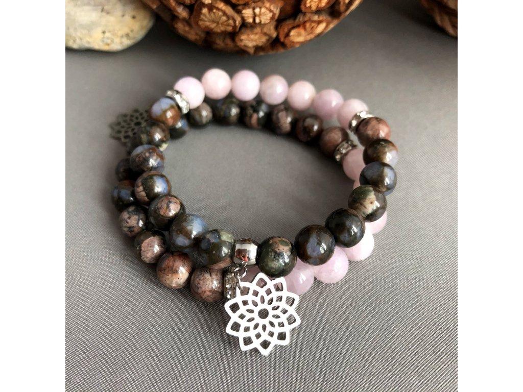 Náramek z minerálů MÁM SE RÁDA - africký opál, kunzit, květ života, chirurgická ocel