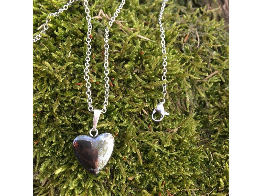 Přívěšek srdce HEMATIT - menší