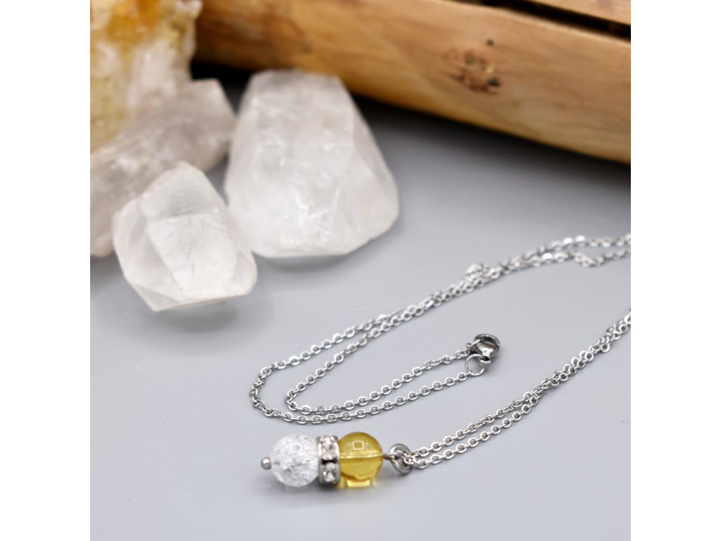 Náhrdelník z minerálů ČISTÁ ENERGIE - citrín, pukaný křišťál, chirurgická ocel
