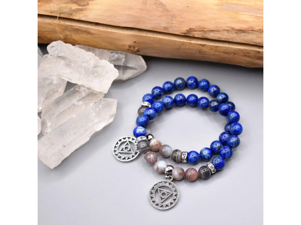 Náramek z minerálů INSPIRACE A KREATIVITA 5. čakra - Višuddhi - lapis lazuli, botswanský achát, chirurgická ocel