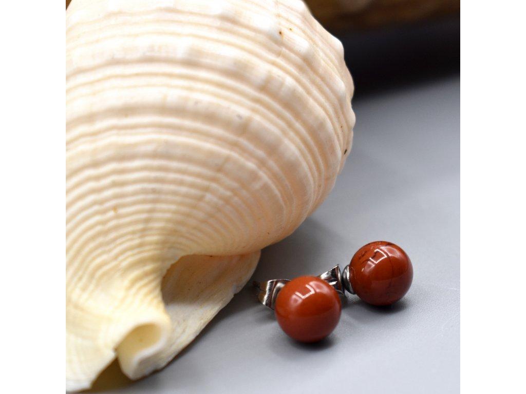 Náušnice pecky - červený jaspis