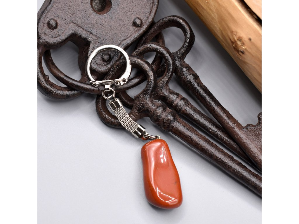 Klíčenka s kamenem - červený jaspis