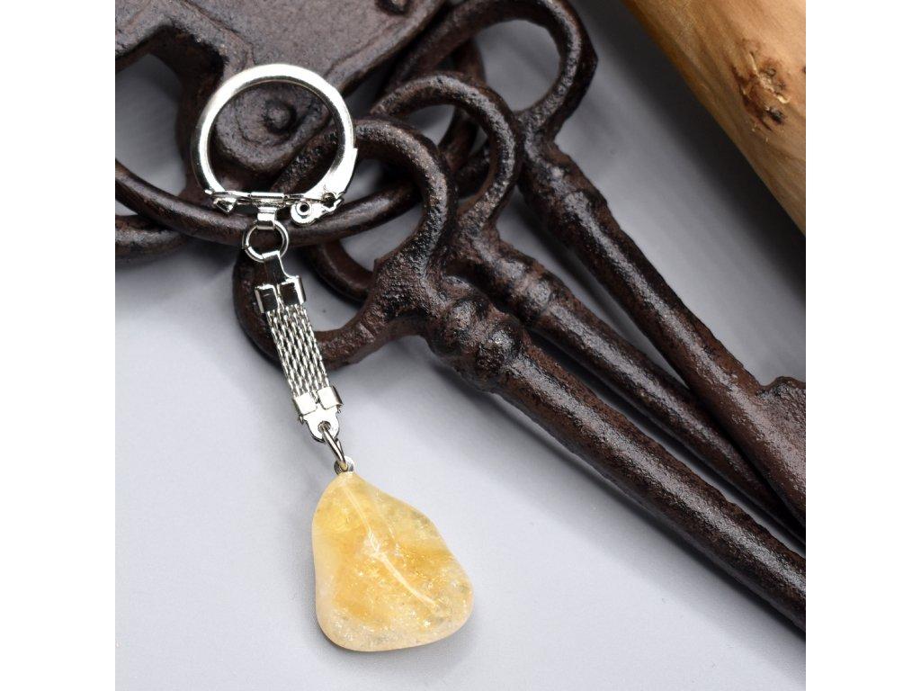 Klíčenka s kamenem - citrín