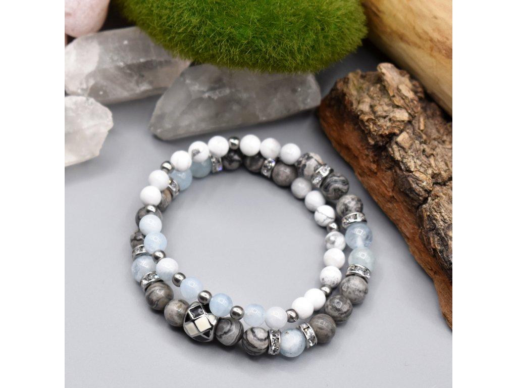 Dvojvrstvý náramek z minerálů ŠTĚSTÍ - akvamarín, krajinový jaspis, bílý magnezit, chirurgická ocel
