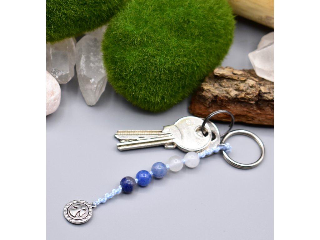 Macramé klíčenka ANDĚL STRÁŽNÝ - modrý avanturín, sněžný nefrit