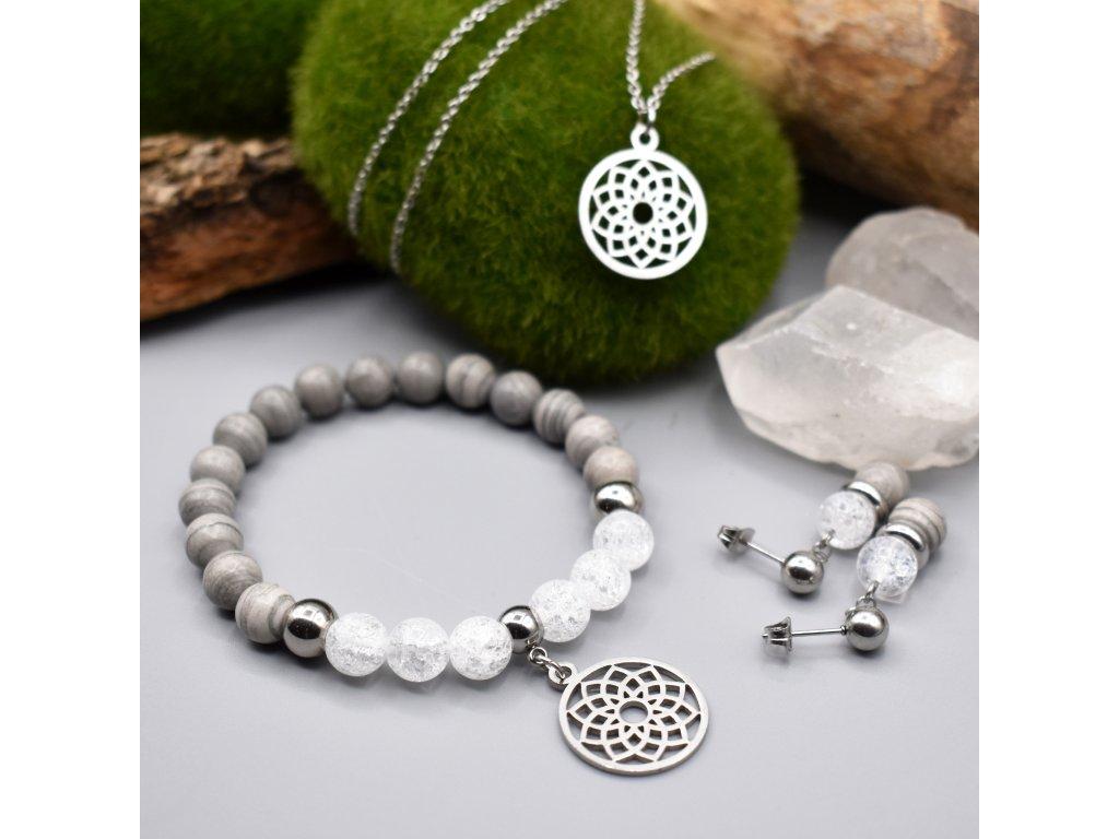 Balíček KVĚT ŽIVOTA - stříbrný jaspis, pukaný křišťál, květ života, chirurgická ocel