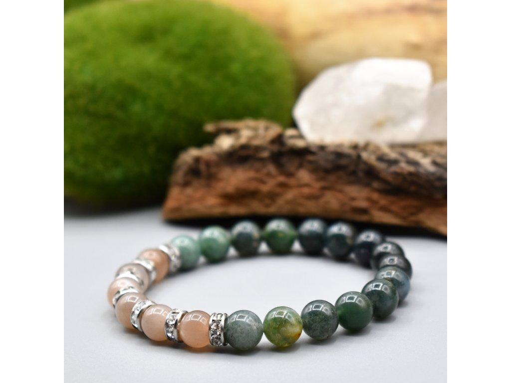 Náramek z minerálů CITOVÁ ROVNOVÁHA - mechový achát, měsíční kámen, chirurgická ocel