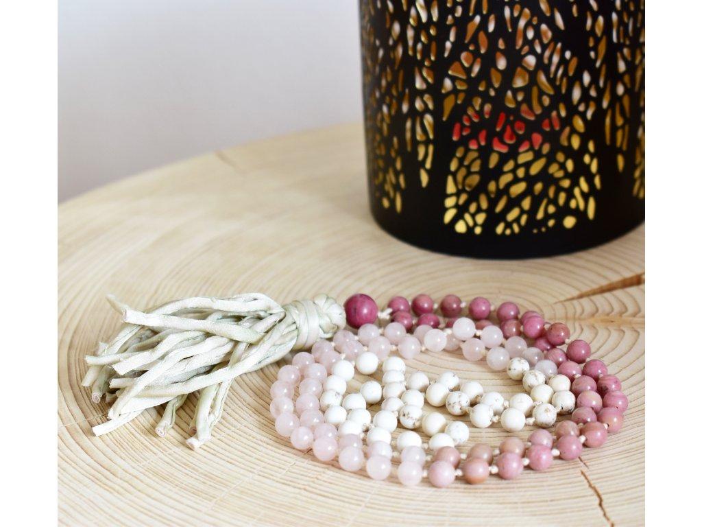 Japa Mála LASKAVOST - rodonit, magnezit, růženín, hedvábný střapec