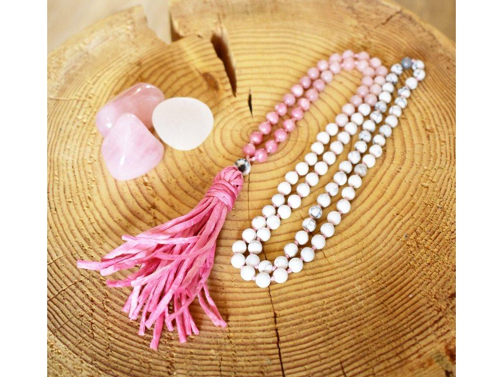 Japa Mála JEDINEČNÉ CHVÍLE - růžový opál, bílý magnezit, hedvábný střapec