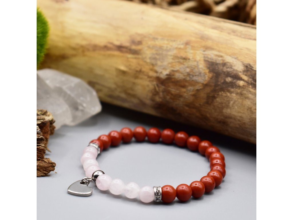 Náramek z minerálů LÁSKA - madagaskarský růženín, červený jaspis, srdce, chirurgická ocel