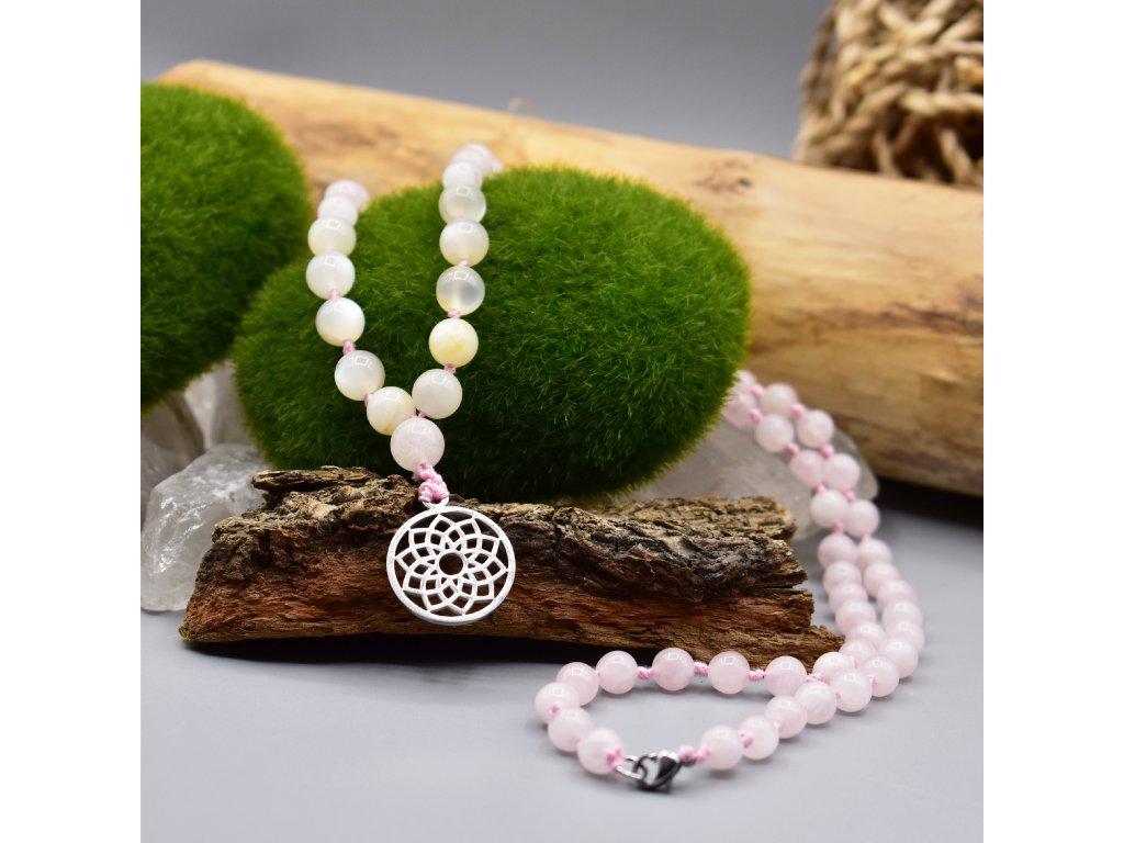 Macramé náhrdelník MANDALA LÁSKY - madagaskarský růženín, duhový měsíční kámen, květ života, chirurgická ocel