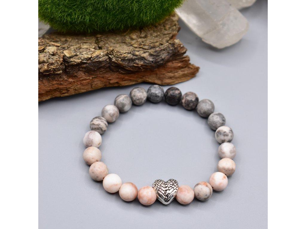 Náramek z minerálů LÁSKA ANDĚLA - růžový zebrovaný jaspis, andělské srdce