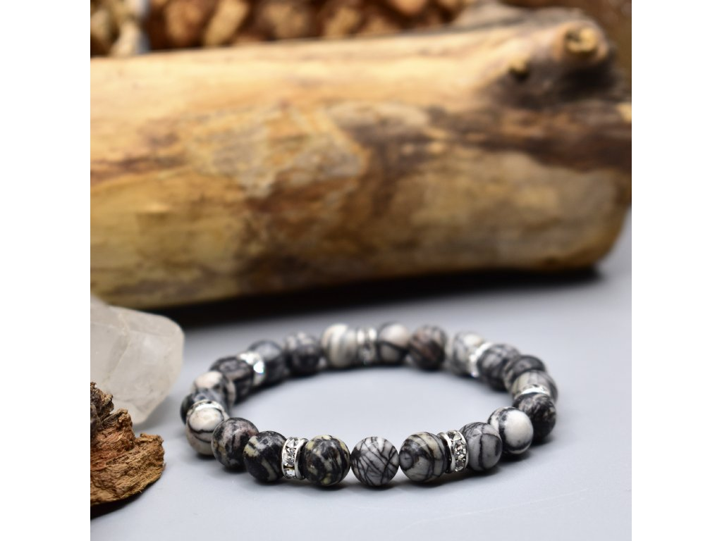 Náramek z minerálů ŠTĚSTÍ A SÍLA - síťovaný jaspis, chirurgická ocel 316L