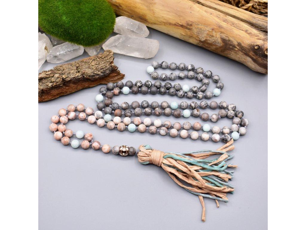 Japa Mála SÍLA ZEMĚ - amazonit, zebrovaný jaspis, krajinový jaspis, chirurgická ocel rose gold, hedvábí