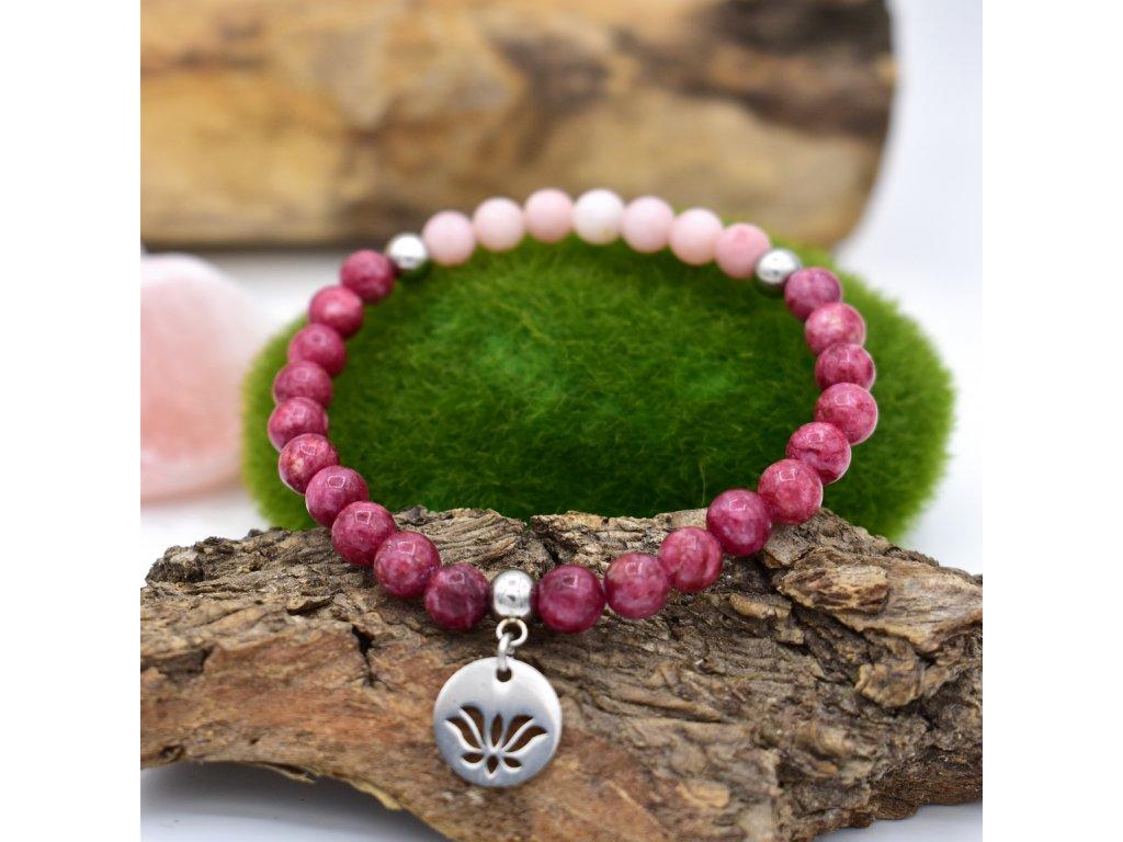 Náramek z minerálů HARMONICKÉ VZTAHY – rodonit, růžový opál, lotosový květ, chirurgická ocel