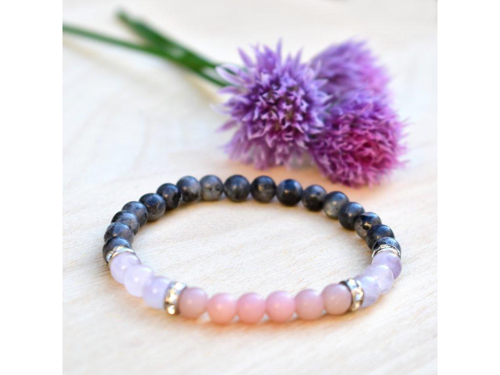 Náramek z minerálů OCHRANA AURY – labradorit, mauvský nefrit, růžový opál, chirurgická ocel