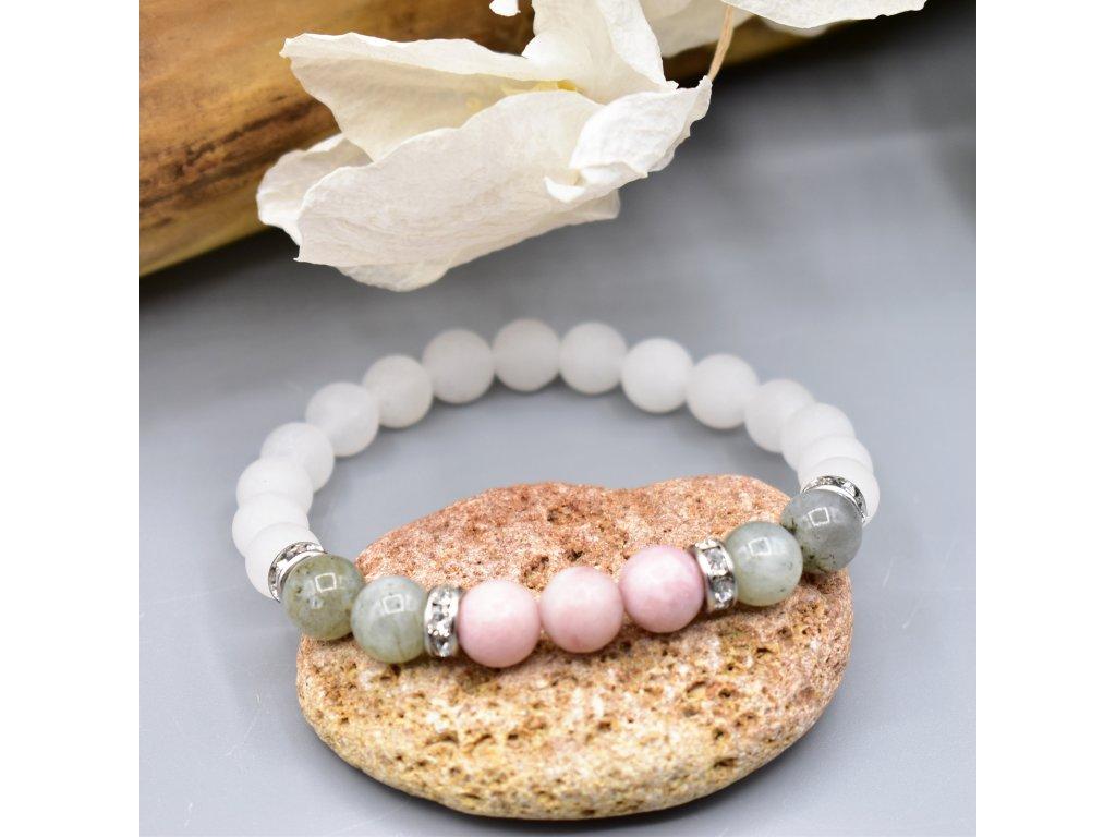 Náramek z minerálů VNITŘNÍ ZÁŘE - nefrit, labradorit, růžový opál, chirurgická ocel