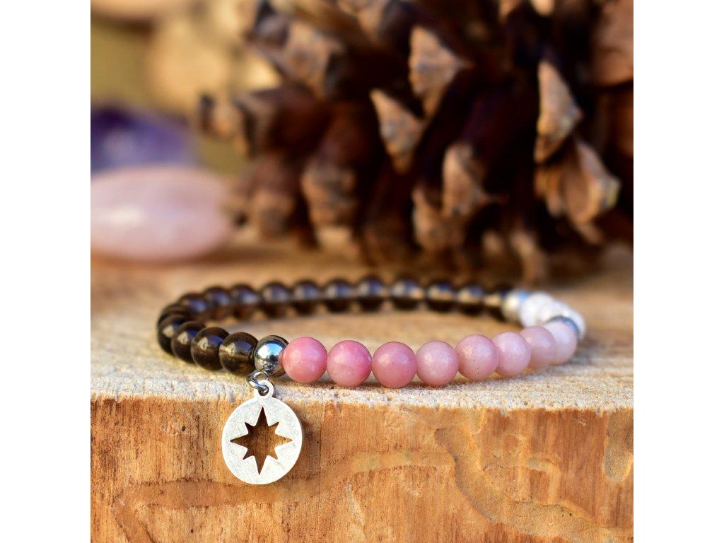 Náramek z minerálů SVĚTLO HVĚZDY – růžový opál, záhněda, pukaný křišťál, chirurgická ocel