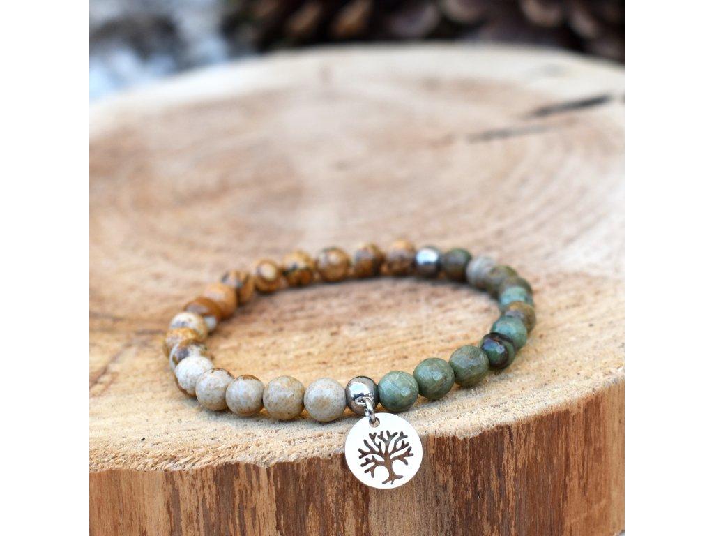 Náramek z minerálů MOUDROST ŽIVOTA – zelený opál, obrázkový jaspis, strom života, chirurgické ocel