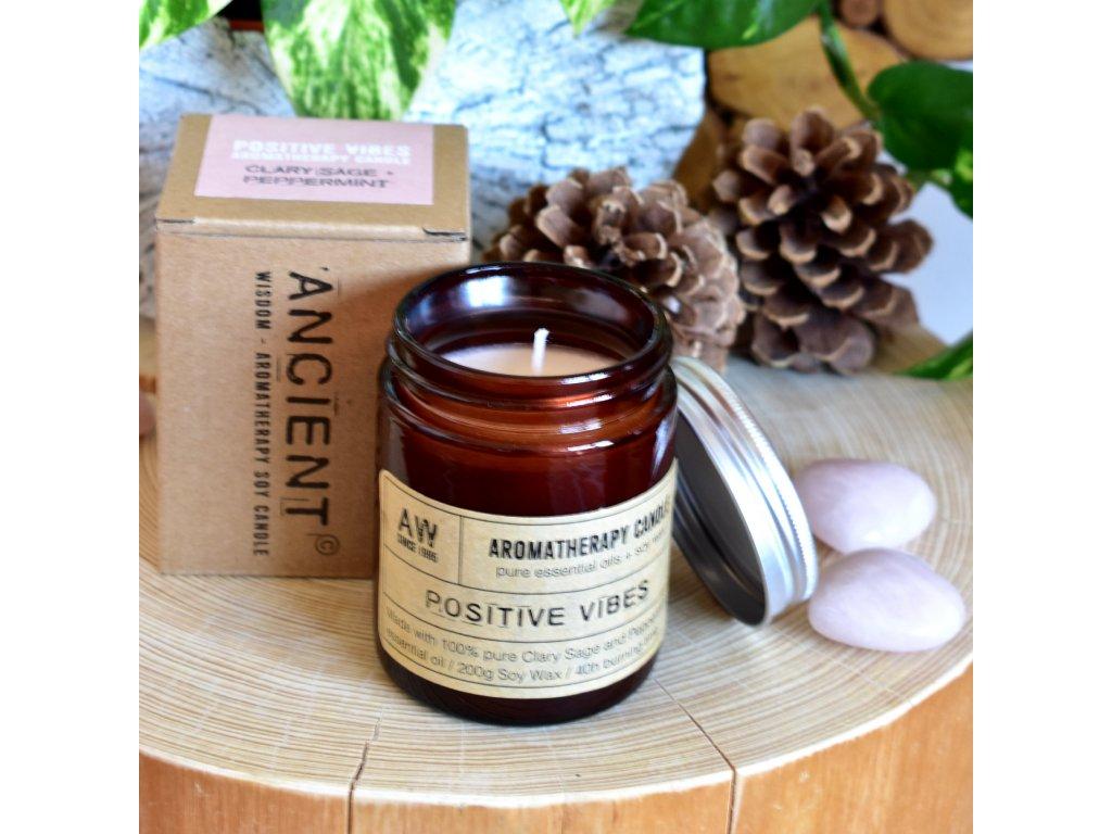 Aromaterapeutická sójová svíčka POZITIVNÍ VIBRACE