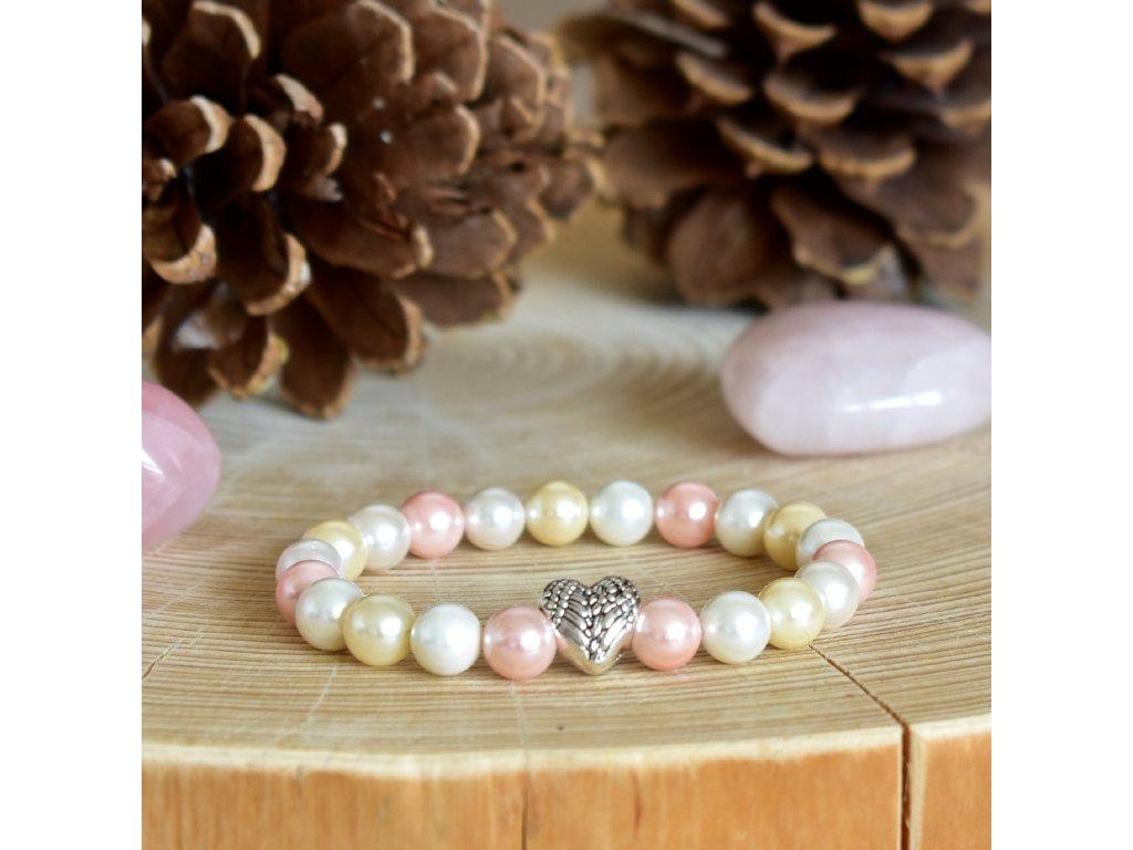 Náramek z minerálů NĚŽNÝ DOTEK - lasturové perly, andělské srdce
