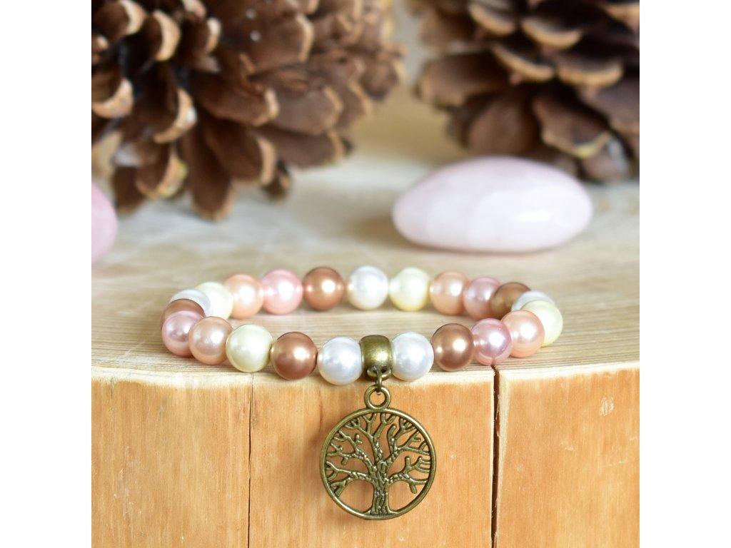 Náramek z minerálů BOHATSTVÍ ŽIVOTA - lasturové perly, strom života