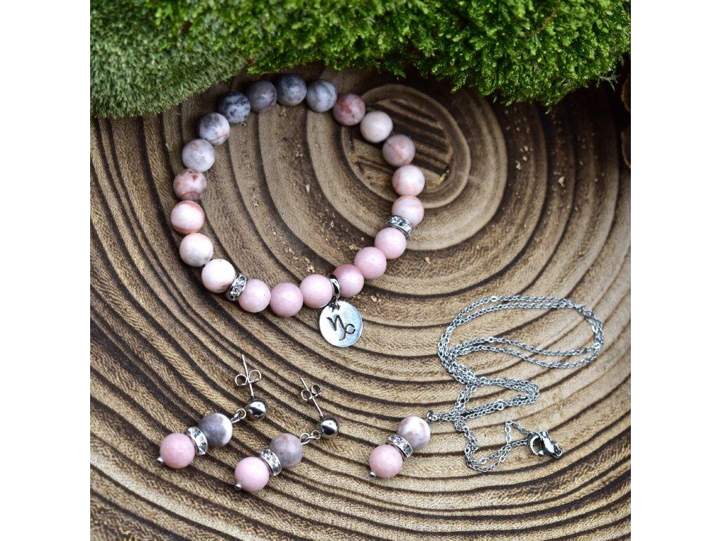Souprava KOZOROH - růžový opál, růžový zebrovaný jaspis, chirurgické ocel