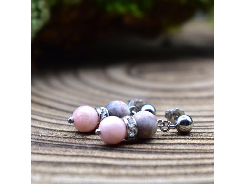 Náušnice z minerálů KOZOROH - růžový opál, růžový zebrovaný jaspis, chirurgické ocel
