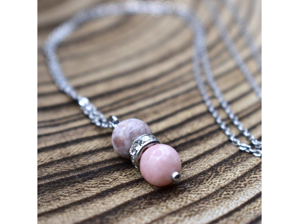 Řetízek s přívěškem z minerálů KOZOROH - růžový opál, růžový zebrovaný jaspis, chirurgické ocel