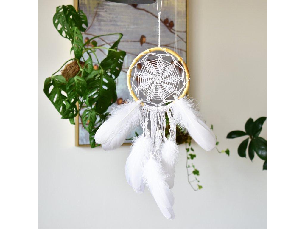 Lapač snů Bílý květ s křišťálem
