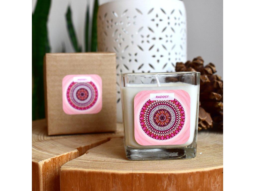 Mandalová aromaterapeutická svíčka RADOST