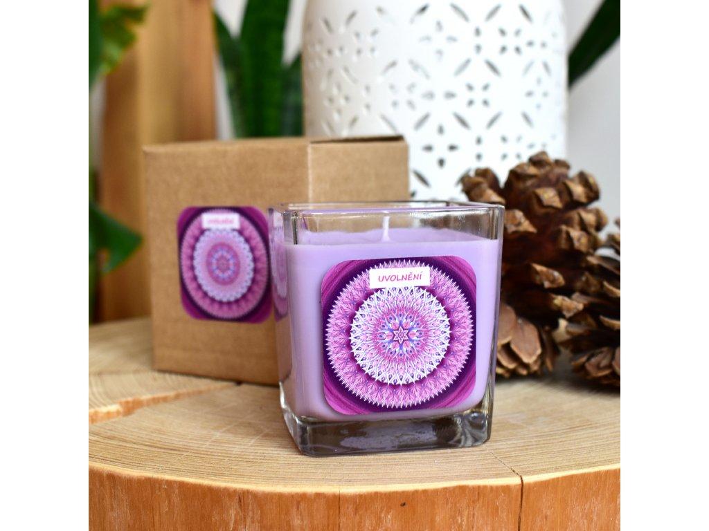 Mandalová aromaterapeutická svíčka UVOLNĚNÍ