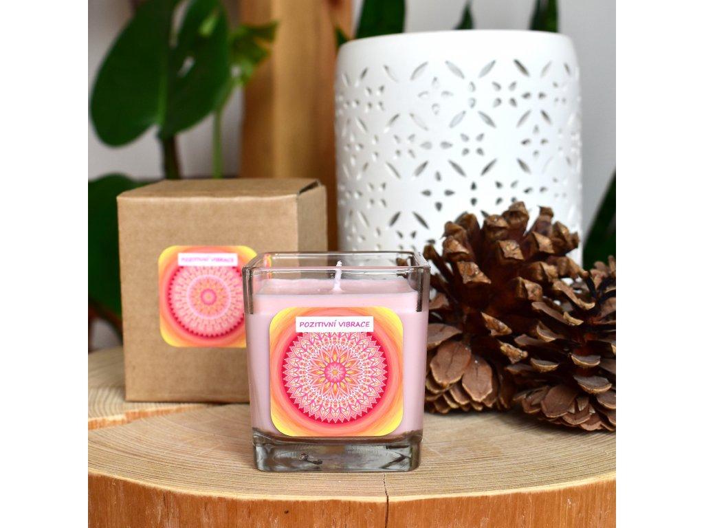 Mandalová aromaterapeutická svíčka POZITIVNÍ VIBRACE