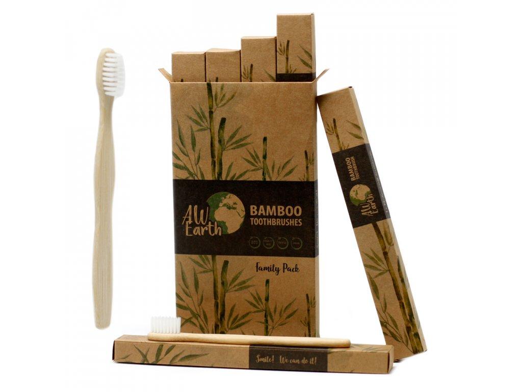 Přírodní bambusový kartáček 4 ks - bílý, rodinné balení